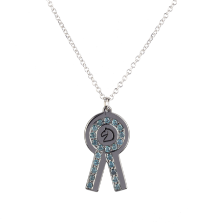 Blue Diamond Prize Rosette Black Rhodium White Gold Necklace