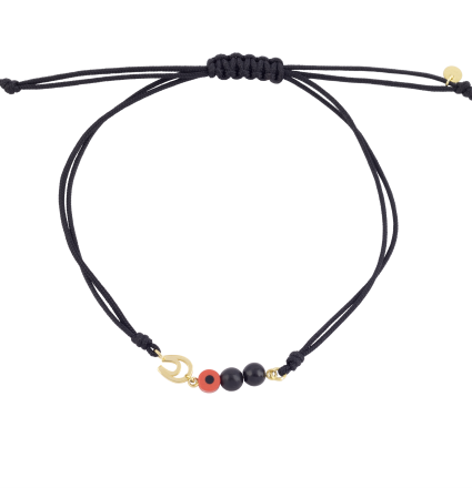 Nice and Easy Onyx and Orange Evil Eye-Horseshoe Yellow Gold Bracelet