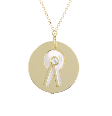 Prize Rosette With Diamond On Mother of Pearl Yellow Gold Necklace