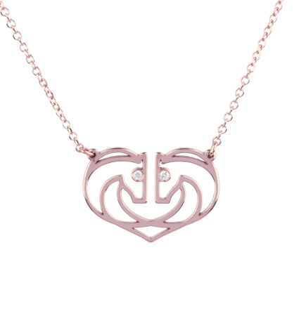 Diamond Heart Pink Gold Necklace